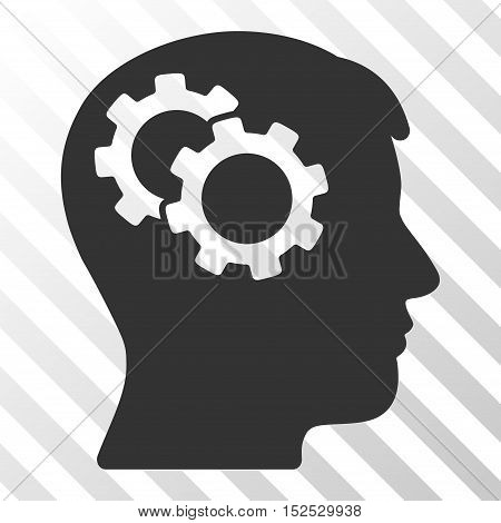 Gray Intellect Gears interface toolbar icon. Vector pictograph style is a flat symbol on diagonal hatch transparent background.
