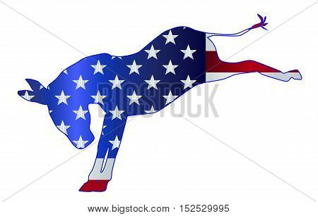 The United States of American Democrat party donkey flag over a white background