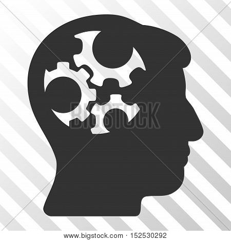 Gray Mind Gears toolbar icon. Vector pictogram style is a flat symbol on diagonal hatch transparent background.