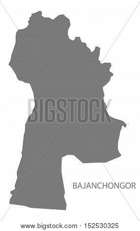 Bajanchongor Mongolia Map grey illustration high res
