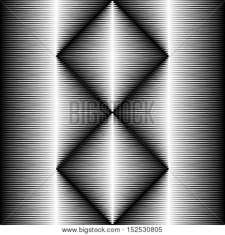Seamless Crystal Pattern. Vector Black and White Gradient Background. Optical Illusion Wallpaper