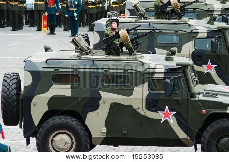 MOSCOW - MAY 6: Patrol car. Dress rehearsal of Military Parade on 65th anniversary of Victory in Great Patriotic War on May 6, 2010 on Red Square in Moscow, Russia