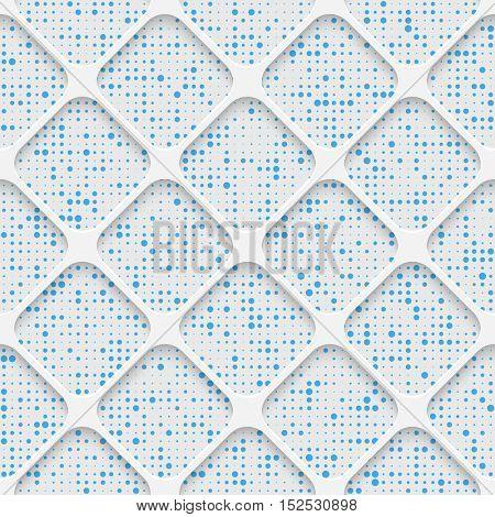 Seamless Square Pattern. White and Blue Minimalistic Ornament. Geometric Decorative Wallpaper. Abstract Fashion Background. Print Graphic Design.