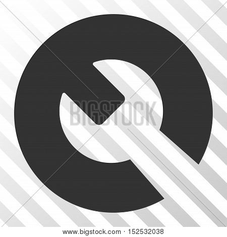 Gray Wrench interface toolbar pictogram. Vector pictogram style is a flat symbol on diagonal hatch transparent background.