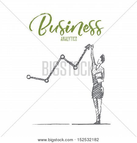 Vector hand drawn business analytics sketch and success concept. Business woman standing and drawing indicators of positive business dynamics by hand. Lettering Business analytics