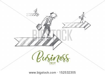 Vector hand drawn business concept sketch. Business people looking ahead and going on arrows meaning successful business and positive dynamics. Business concept lettering