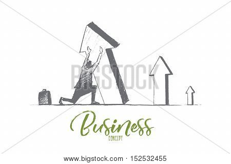 Vector hand drawn business concept sketch. Businessman sitting on his haunches and trying to lift falling indicator of growth by hands. Lettering Business concept