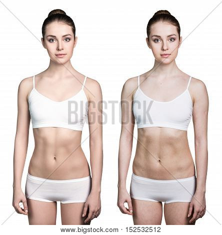 Woman before and after lose weight isolated on white