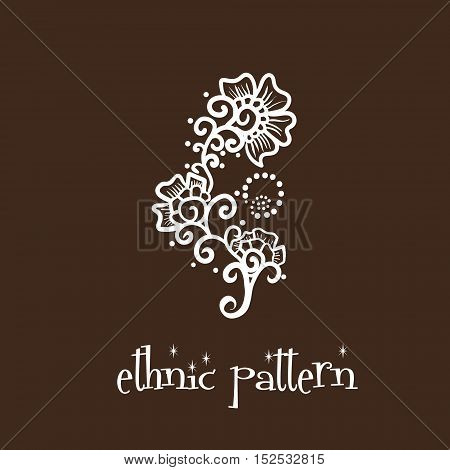 Ethnic pattern hand drown flower mehendi flowers and dots vector illustration tattoo design on a brown background eps10