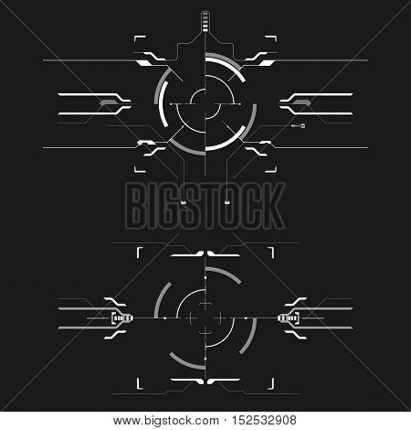set of black and white infographic elements. Head-up display elements for the web and app. Futuristic user interface. Virtual graphic