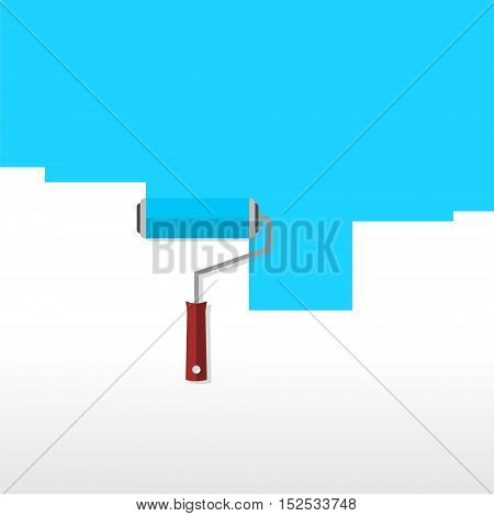 Logo design, blue roller brush sign icon