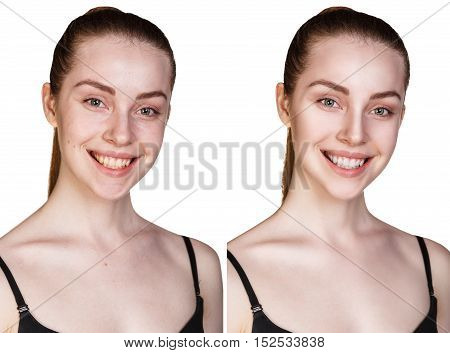 Comparison portrait of young girl with and without makeup