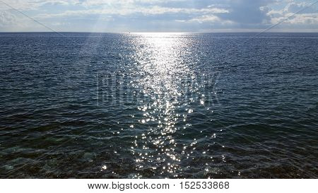 Solar Glare on the Waves on the Water of the Mediterranean Sea French Riviera