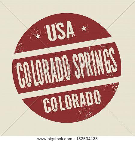 Grunge vintage round stamp with text Colorado Springs Colorado vector illustration