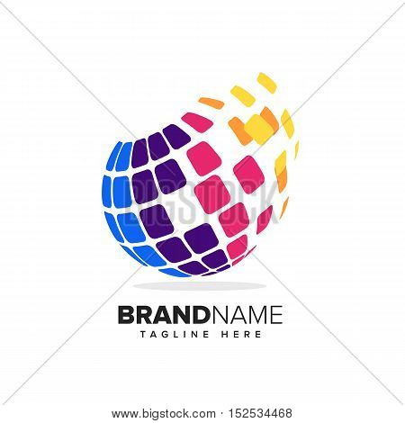 Stylized globe with pixels in motion. This logo is suitable for global company, world technologies and media agencies