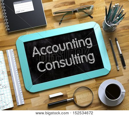 Accounting Consulting Concept on Small Chalkboard. Accounting Consulting - Text on Small Chalkboard.3d Rendering.