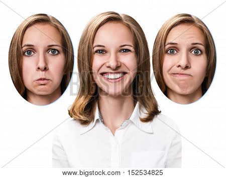 Young girl changes her face portraits with different emotions isolated on white
