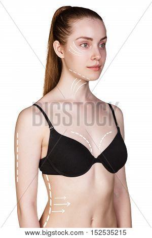 Young woman body with correction arrows over white background. Plastic surgery concept