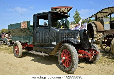 ROLLAG, MINNESOTA, Sept 1. 2016: A restored Ford 1920 6 speed truck is displayed at the annual WCSTR farm show in Rollag held each Labor Day weekend where 1000's attend.