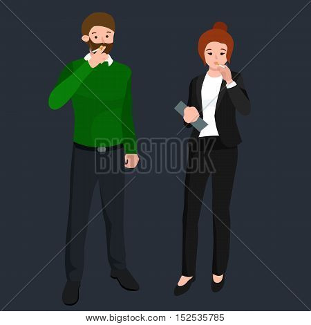 funny cartoon office worker smoking cigarette cartoon character, vector illustration.