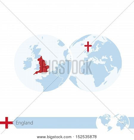 England On World Globe With Flag And Regional Map Of England.
