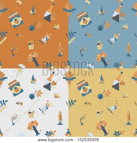 Autumn icons Seamless Pattern. Four Background in Different Colors. Vector