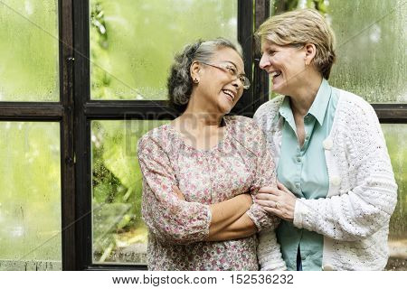 Female Bright Smiling Laughing Ladies Happiness Concept