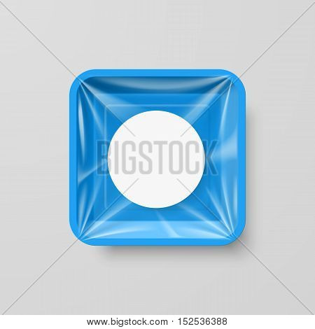 Empty Blue Plastic Food Square Container with Round Label