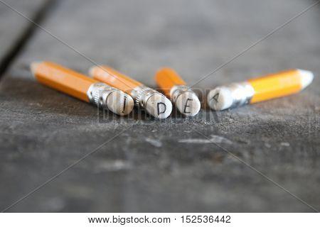 Idea- the inscription on the yellow pencils