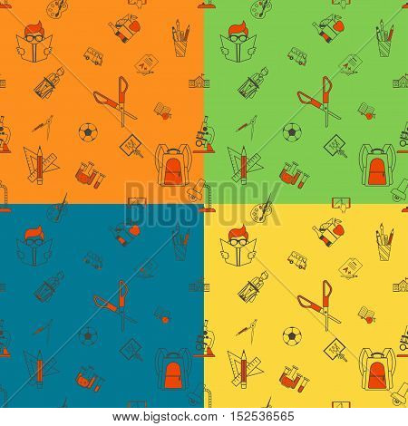 School items Seamless Pattern. Four Background in Different Colors. Vector. Flat design style