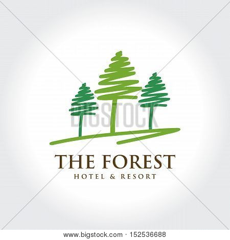 Pine Forest Hotel and Resort. Natural Residence concept symbol