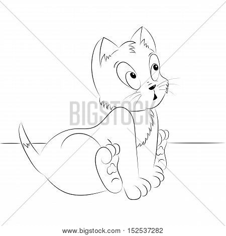 Happy cute outline surprised kitten. Simple cartoon style. Page for art coloring book for kids. Vector illustration