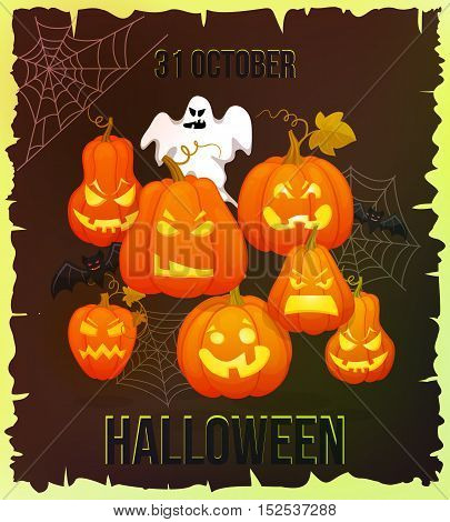 October 31. Halloween banner. Holiday torn edges, shabby background with pumpkins, web, bats. Retro cartoon style vector illusctration
