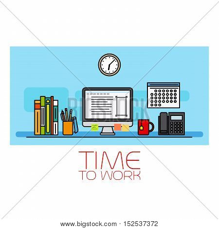 Time to work horizontal banner with wall clock and computer vecrot illustration