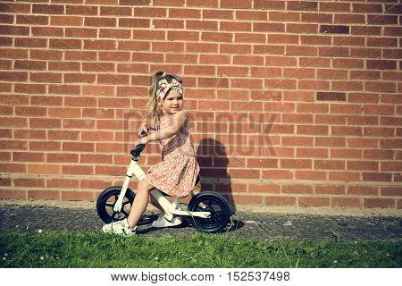 Fashionable Girl Ride Bicycle Adorable Concept