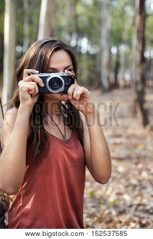 Photographer Camera Woman Shooting Woods Nature Concept