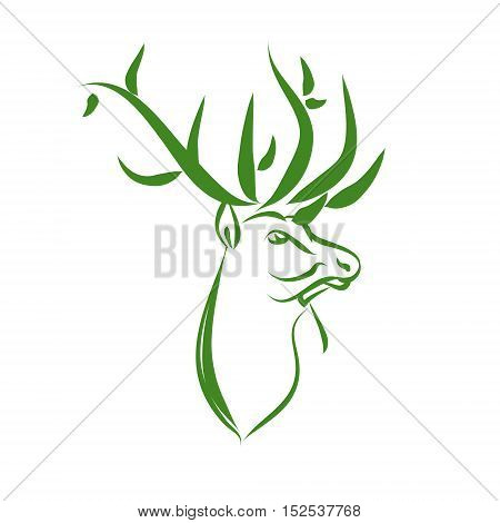 Green deer logo zoo protection. A symbol of nature - a deer head with large horns. Vector illustration on white background