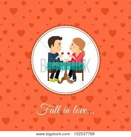 Fall in love couple sit at the table, valintines day card template with orange background