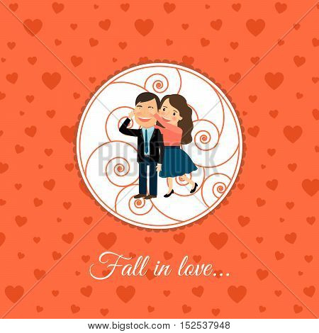 Fall in love couple, valintines day card template with orange background. Vector illustration