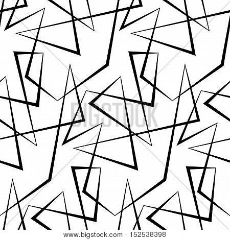 Abstract seamless background of broken lines. Monochrome striped pattern. Black white wallpaper.