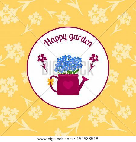 Happy garden circle sticker design with watering can and blue flowers on the yellow background. Vector illustration