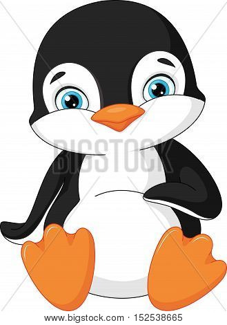 Cute young penguin on white background, EPS 8