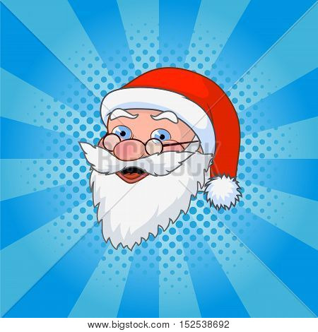 Vector illustration Santa Claus comic style design with jolly plump in red cap on blue background.