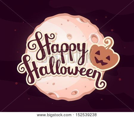 Vector Halloween Illustration Of Full Light Moon With Craters And Text Happy Halloween On Dark Backg
