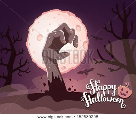 Vector Halloween Illustration Of Zombie Hand In A Graveyard With Headstone, Big Full Moon, Trees, Ba