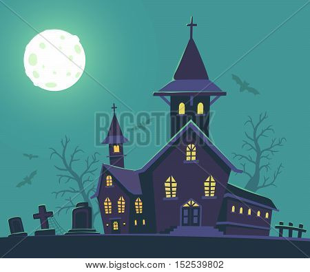 Vector Halloween Illustration Of Haunted House, Cemetery, Bats, Full Moon On Blue Background With Tr