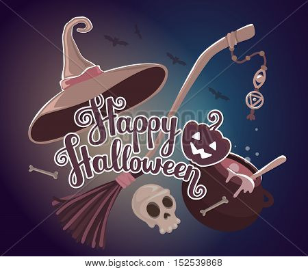 Vector Halloween Illustration With Text Happy Halloween, Pumpkin, Witch Hat, Skull, Broom, Cauldron