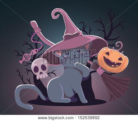 Vector Halloween Illustration With Orange Pumpkin, Cat In Witch Hat, Skull, Broom On Dark Night Back