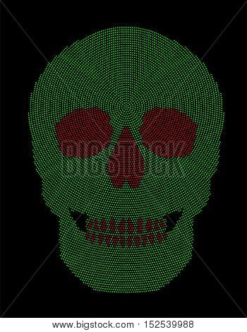 Skull green and red radial dot pattern. Symbol of the bone structure of an head of a skeleton. Formed by dots beginning from the place of the third eye. Abstract illustration on black background.