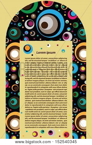 Vector decorative arch of colored circles with a vertical ram for text.